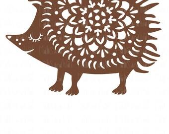 Hedgehog mandala svg/png/dxf cricut/silhouette digital download cutting file/mandala svg/woodland svg/svg cut/hedgehog svg/folk art/HTV