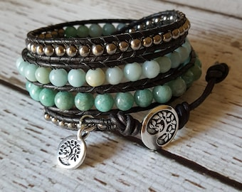 Amazonite & Silver Hematite Wrap Bracelet, Charm Bracelet, Gemstone Wrap Bracelet, Leather Jewelry, Yoga Jewelry, x4 Wrap Bracelet Beaded