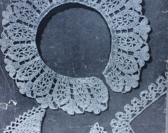 vintage crochet pattern 1940's Penelope 1246 collars and lace edging