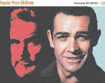 Sean Connery cross stitch pattern Connery pattern needlepoint needlework - 248 x 178 stitches - INSTANT Download - B349