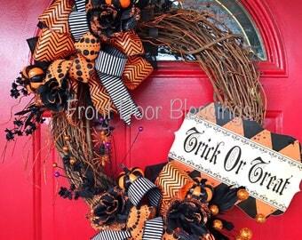 Halloween wreath Trick or treat wreath Front door wreath Grapevine wreath Orange and black door wreath Halloween door wreath