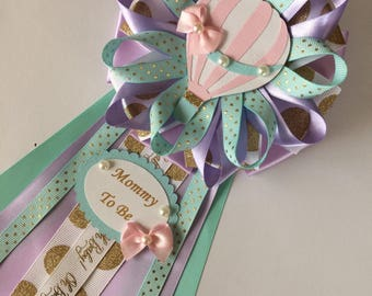 Hot air balloon baby shower corsage/Pastel colors and gold accents hot air balloon Mommy ro Be corsage/Lavender teal and gold baby shower