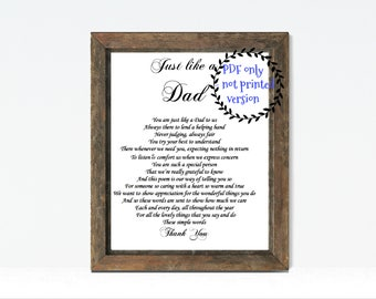 Stepdad, Step Dad gift, PRINT YOUR OWN, Like a Dad, Step Father, Digital Personalized Dad gift, Gift for Step Dad on Father's Day