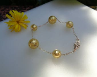Gold Bracelet, 585 goldfilled with Murano glass, gold leaf