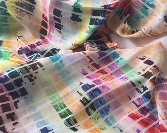 Muticolor silk-wool stole