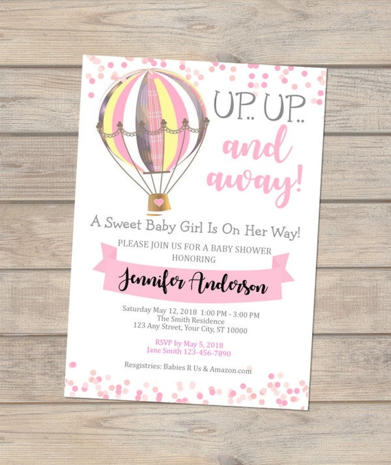 Pink Hot Air Balloon Baby Shower Invitation Girl Baby Shower