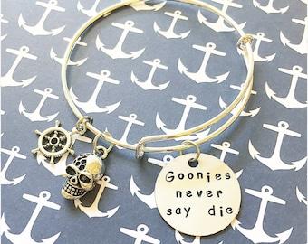 Goonies never say die adjustable bangle bracelet movie quote jewelry the goonies movie jewelry
