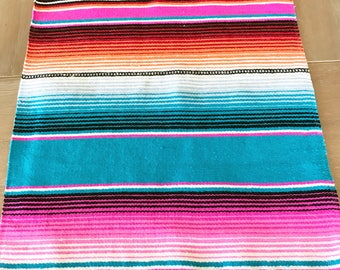 Mexican blanket Serape table runner, bright colorful turquoise, Southwestern decor, Fiesta decorations, striped rainbow, pompoms OPTIONAL