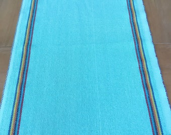 Rustic jerga table runner, Mexican turquoise fabric , rainbow accents, ends with fringe, Fiesta party supplies, bohemian look with rainbow