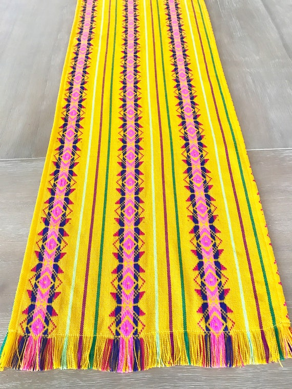 Mexican fabric napkins table runner or tablecloth yellow