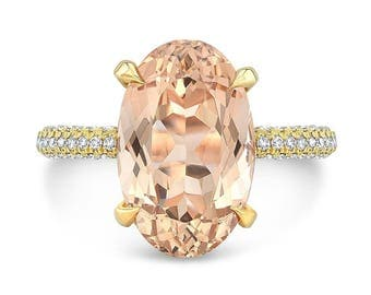6.10 Ct. Brilliant Oval Cut Morganite Solitaire Engagement Ring on 18K Yellow Gold with Diamonds