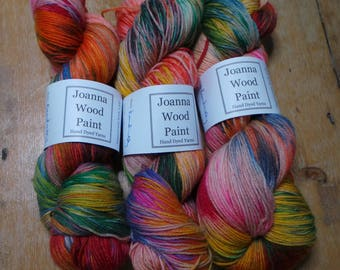 Kandinsky themed hand dyed yarn - Superwash Merino Sock 4 Ply