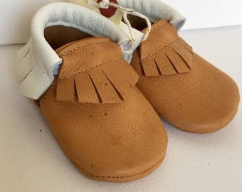 Size 2- Mustard/Cream Leather Moccasin (Ready to ship)