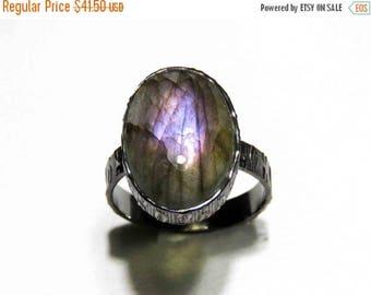 21% DISCOUNT SALE Purple Labradorite Ring// Oxidized Ring// Silver Ring// Black Ring// Statement Ring// Gemstone Ring Handmade
