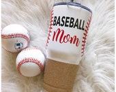 Baseball Mom - Softball Mom - Steel Tumbler - Baseball - Glitter Tumbler - Glitter Dipped - Glitter Cup - Vacuum Insulated Mug - Mom Life