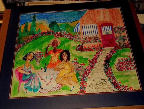 GERANIUM MANOR, pigmented India Ink, matted & framed, Outsider Folk Art by African American Folk Artist, Stacey Torres