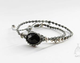 Onyx macrame bracelet