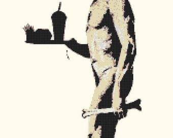 "Neanderthal Counted Cross Stitch Banksy Pattern modern street art cross stitch, needlepoint - 11.69"" x 18.71"" - L1413"