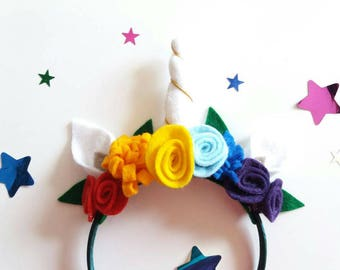 Rainbow Unicorn - Unicorn Gift - Unicorn Horn - Unicorn Party - Unicorn Headband - Unicorn Party - Girls Unicorn Hairband - Rainbow Party