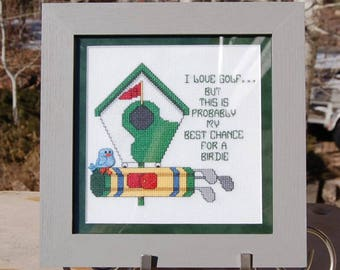 Golf Cross Stitch Birdie  Completed and Framed