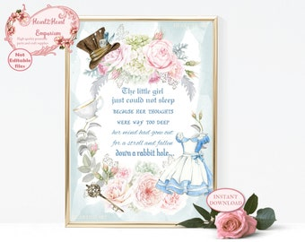 Alice in Wonderland Print, Down a rabbit hole, Printable Wall Art, Nursery Wall Art, Lewis Carroll Quote, Nursery Decor, Girls Room