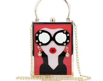 Red fashion glasses with beauty box