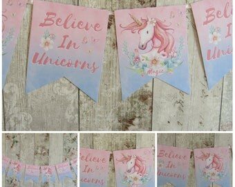 Floral Shabby Chic Unicorn Bunting/Garland Birthday,Party,Decoration,Princess Party,Fairytale