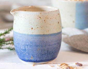 Hand thrown ceramic milk jug // blue jug // Gifts for her // two tone jug // wedding gift // coastal inspiration // milk jug