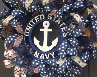 US Navy Wreath,Navy Gift, PatrioticWreath, Military Wreath,Naval Wreath,Navy Wreath