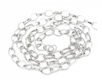 4 m silver grey 8x6mm oval shaped link chain.