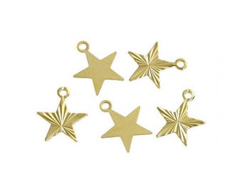30 Golden 10.5 mm star charms