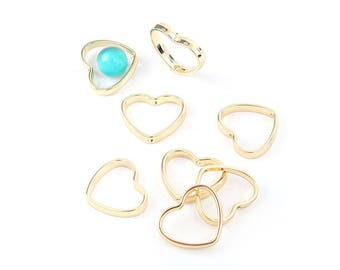10 Pearl hearts 20mm colour gold gilt frames