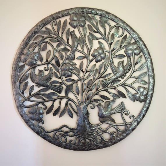 "Large Tree of Life by Julio Balan, Metal Wall Art, Fair trade from Haiti, 32"" x 32"""