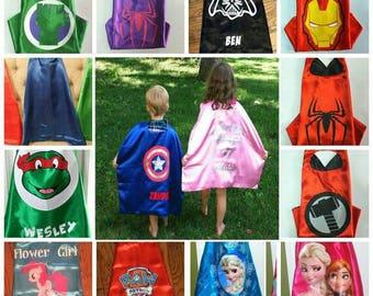 Sale! PERSONALIZED Superhero Cape Mask Armbands -35 Styles Spiderman, Ironman, Captain America, Minnie, Ninja Turtles Paw Patrol Thor more!