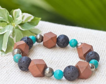 Diffuser bracelet, Beaded bracelet, Lava stone rock bracelet, Natural stone bracelet, Turquoise Lava, Wood Pyrite Unisex Yoga bracelet Gift