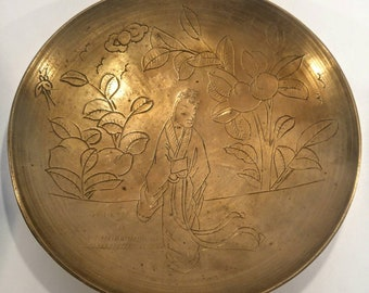 Chinese brass bowl. Engraved brass bowl.