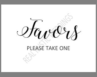 PRINTABLE 5x7 FAVORS Please Take One SIGN