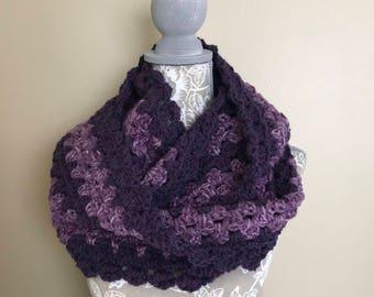 "Women's Crochet Infinity Scarf Purple Mauve Stripe Handmade 64"" circumference x 7"" wide - S22"