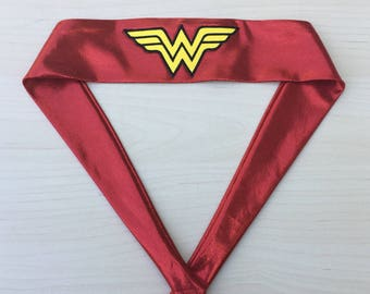 Sale! Wonder Woman Headband, Wicks away sweat, gift for her, Tie-Back Style, Red, Sewn on Logo