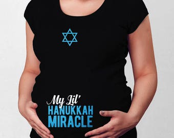 Hanukkah Maternity Announcement Shirt Jewish Pregnancy Maternity Reveal Jewish Holiday Gift For Expecting Mothers Baby Shower Gift TEP-425