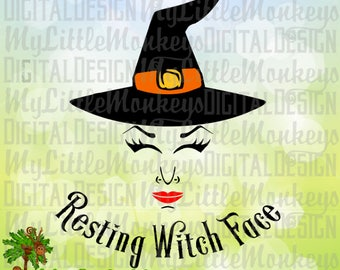 Witch SVG, Witch Face, Resting Witch Face SVG, Halloween svg, Halloween Shirt Design, Commercial Use SVG, Clip Art, Cut File, png, eps, dxf