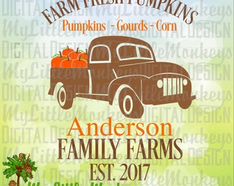 Antique Truck SVG, Truck with Pumpkins SVG, Farm Fresh Pumpkins, Fall svg, Halloween, Commercial Use SVG, Cut File, Clipart, dxf, eps, png