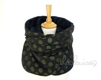 Scarf Hoodie, hooded black polka dot weave khaki