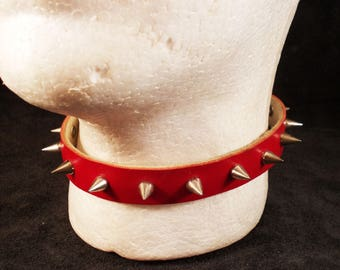 FREE SHIPPING! Handmade spiked red leather collar