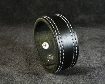 FREE SHIPPING! Black thick leather Cuff! Black Bracelet! Man bracelet