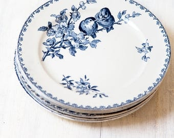 Early 1900s Ironstone Dinner Plates - Set of Six - Sarreguemines Favori - Blue Transferware - Free Shipping Within the USA