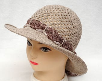 Crochet Hat Womens Gift|for|Her Brown Hat Holiday gift Womens Sun hat Women Accessories Wide Brim Hat Womens Hats Beach Hat Summer gift idea