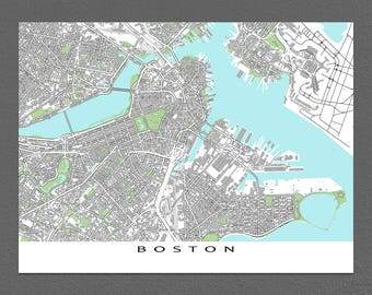Boston Map Print, Boston Massachusetts, City Street Art, Buildings