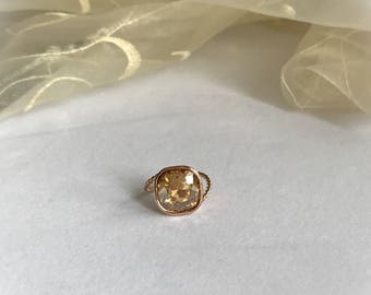 Cushion Cut Ring, Golden Shadow 12mm Swarovski Crystal Elements, Statement Ring, Rose Gold Setting, Size 6