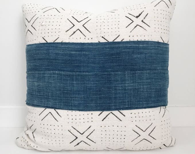 African Mudcloth and Indigo Pillow Cover, Ethnic, Handwoven, Natural, Blue, Boho Pillow